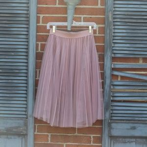 blush pink tulle midi skirt